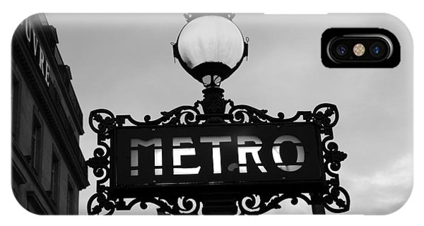 Paris Metro iPhone Case - Paris Metro Sign Black And White Art - Ornate Metro Sign At The Louvre - Metro Sign Architecture by Kathy Fornal