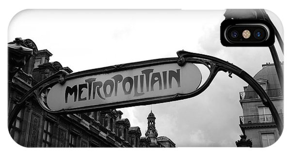 Paris Metro iPhone Case - Paris Metro Sign Louvre Museum - Paris Metropolitain Sign Black And White Art Nouveau - Paris Metro by Kathy Fornal