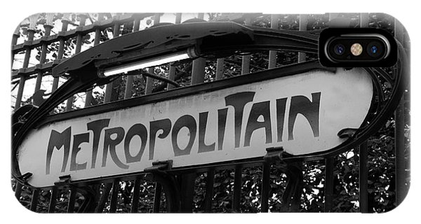 Paris Metro iPhone Case - Paris Metropolitain Sign - Paris Metro Signs Black And White Photography - Paris Metro Sign On Gate by Kathy Fornal