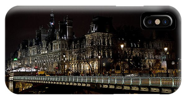 Old Rugged Cross iPhone Case - Paris Night Along The Seine by Evie Carrier