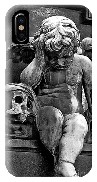 Chaise iPhone Case - Paris Pere Lachaise Cemetery- Cherub Gothic Angel With Skull by Kathy Fornal
