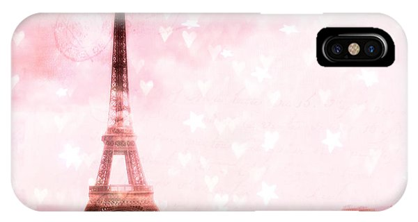 Girls In Pink iPhone Case - Paris Pink Eiffel Tower With Hearts And Stars - Paris Romantic Dreamy Pink Photographs by Kathy Fornal