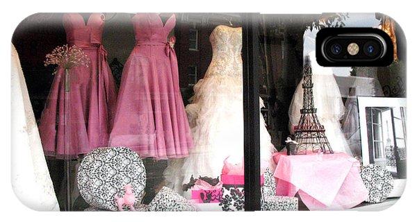 Window Shopping iPhone Case - Paris Pink White Bridal Dress Shop Window Paris Decor by Kathy Fornal