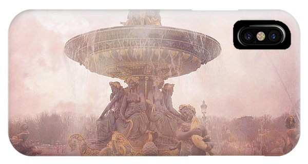 Concorde iPhone Case - Paris Place De La Concorde Fountain - Paris Dreamy Pink Landmarks - Paris Pink Place De La Concorde  by Kathy Fornal