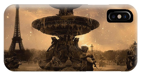 Concorde iPhone Case - Paris Place De La Concorde Fountain Square - Paris Fountain And Eiffel Tower Sepia Starry Night  by Kathy Fornal