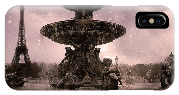 Concorde iPhone Case - Paris Place De La Concorde Fountain Square - Paris Pink Place De La Concorde Fountain Starry Night by Kathy Fornal