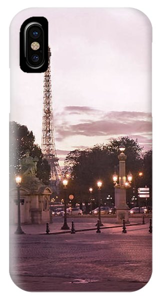 Concorde iPhone Case - Paris Place De La Concorde Plaza Street Lamps - Romantic Paris Lanterns Eiffel Tower Pink Sunset by Kathy Fornal