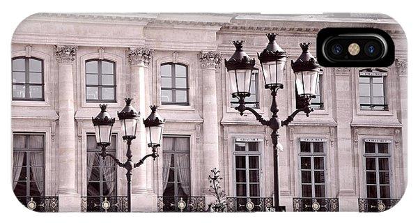 Window Shopping iPhone Case - Paris Place Vendome Pink And Black Architecture - Paris Pink Black Street Lanterns Architecture  by Kathy Fornal