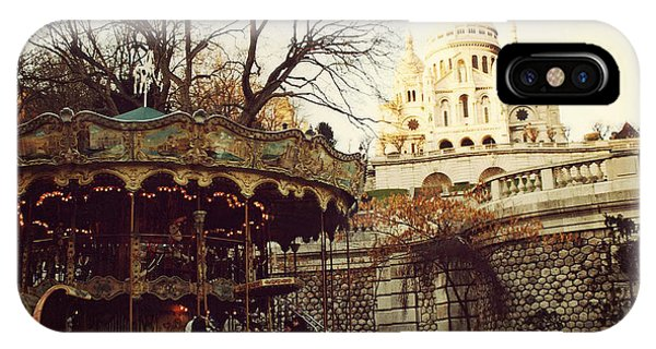 Paris Sacre Coeur Carousel Merry Go Round - Paris Autumn Fall Carousel Sacre Coeur Cathedral Phone Case by Kathy Fornal