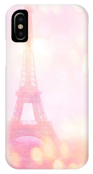 Girls In Pink iPhone Case - Paris Shabby Chic Romantic Dreamy Pink Eiffel Tower With Hot Air Balloon by Kathy Fornal