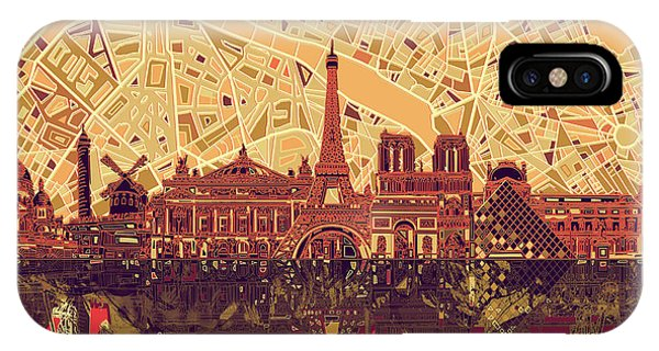 Louvre iPhone Case - Paris Skyline Abstract Sepia by Bekim Art
