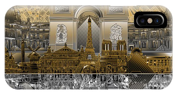 Louvre iPhone Case - Paris Skyline Landmarks 5 by Bekim Art