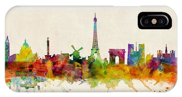 City iPhone Case - Paris Skyline by Michael Tompsett