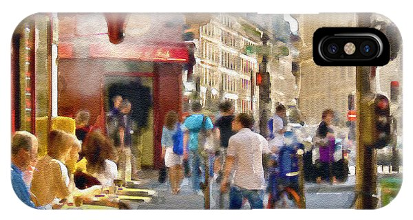 French iPhone Case - Paris Streetscape Watercolor by Marian Voicu