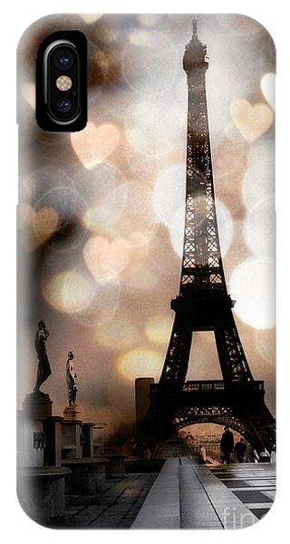Cute iPhone Case - Paris Surreal Fantasy Sepia Black Eiffel Tower Bokeh Hearts And Circles - Paris Eiffel Tower Hearts  by Kathy Fornal