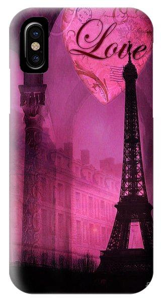 Paris Romantic Pink Fantasy Love Heart - Paris Eiffel Tower Valentine Love Heart Print Home Decor IPhone Case