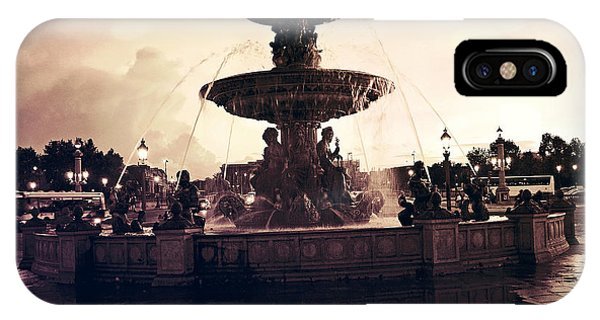 Concorde iPhone Case - Paris Surreal Place De La Concorde Fountain - Paris Sunset Sepia Night Lights Fountain Square by Kathy Fornal