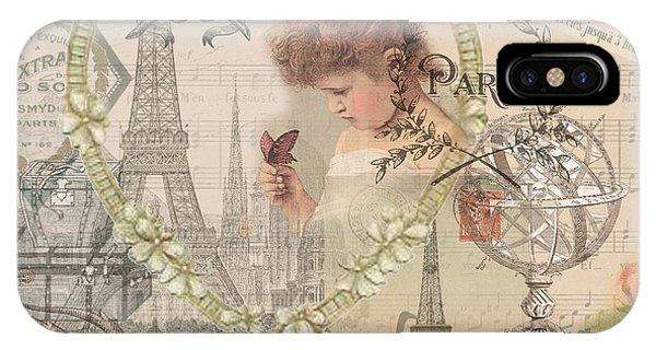 Paris Vintage Collage With Child IPhone Case