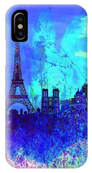 French Landscape iPhone Case - Paris Watercolor Skyline by Naxart Studio
