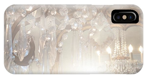 Paris Dreamy White Gold Ghostly Crystal Chandelier Mirrored Reflection - Paris Crystal Chandeliers IPhone Case