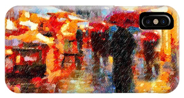 Parisian Rain Walk Abstract Realism IPhone Case