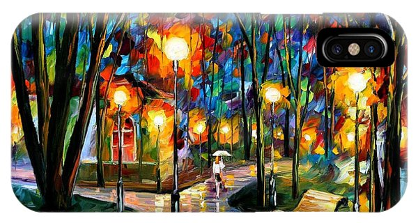 iPhone Case - Park By The Lake - Palette Knife Oil Painting On Canvas By Leonid Afremov by Leonid Afremov