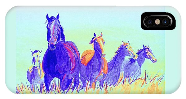 iPhone Case - Party Horses by Cynthia Sampson