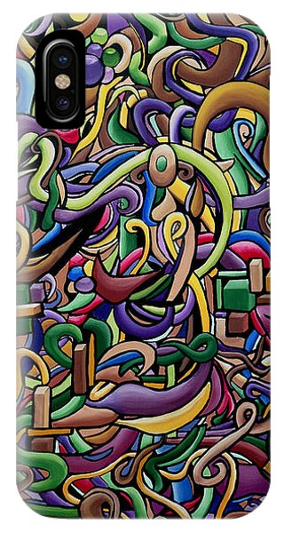 Colorful Abstract Illusion Artwork Painting, Cosmic Energy Flow Art, Music Frequency IPhone Case