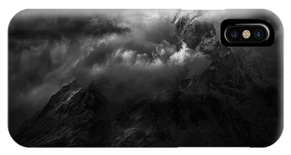 Dark Clouds iPhone Case - Passing Storm Over The Paine Massif by Peter Svoboda, Mqep
