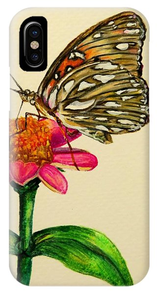 Close Up Floral iPhone Case - Passion Butterfly On Zinnia by Zina Stromberg