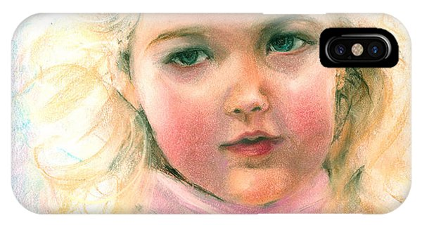 Pastel Portrait Of An Angelic Girl IPhone Case
