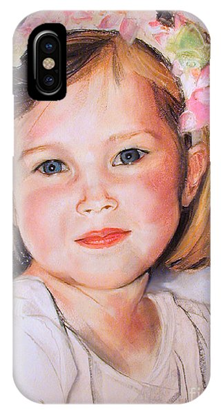 Pastel Portrait Of Girl With Flowers In Her Hair IPhone Case