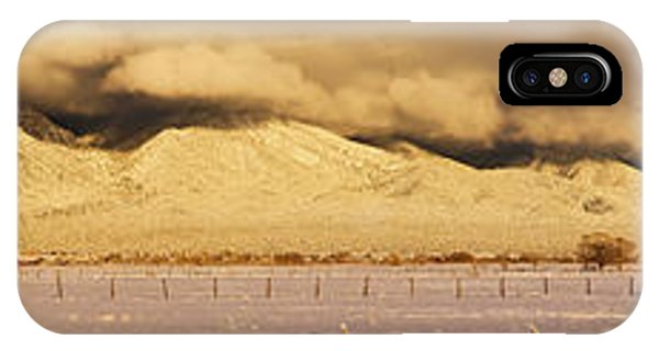 Sangre De Cristo iPhone Case - Pasture Land Covered In Snow At Sunset by Panoramic Images