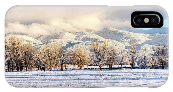 Sangre De Cristo iPhone Case - Pasture Land Covered In Snow With Taos by Panoramic Images