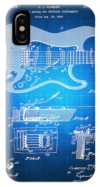 Technical iPhone Case - Fender Guitar Patent Blueprint Drawing by Tony Rubino