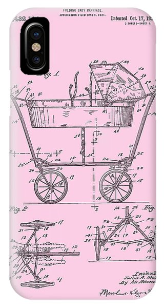Patent Art Baby Carriage 1922 Mahr Design Pink IPhone Case