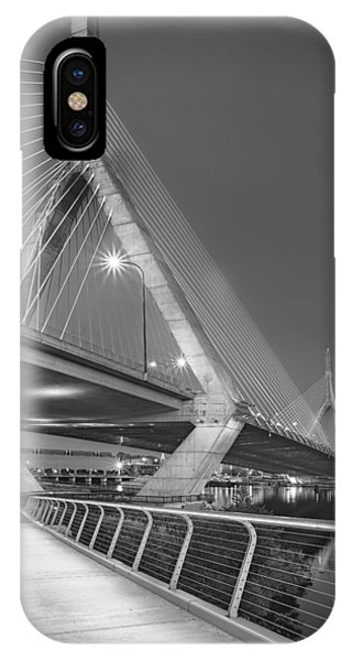 Bean Town iPhone Case - Path To The Leonard P. Zakim Bridge Bw by Susan Candelario