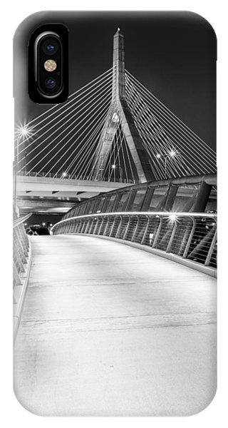Zakim Bridge iPhone Case - Path To The Zakim Bridge Bw by Susan Candelario