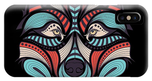 American iPhone Case - Patterned Colored Head Of The Wolf by Sunny Whale