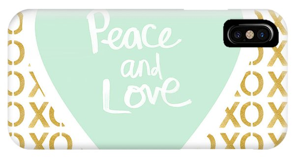 Hearts iPhone Case - Peace And Love In Aqua And Gold by Linda Woods