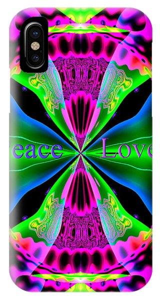 IPhone Case featuring the digital art Peace And Love by Visual Artist Frank Bonilla