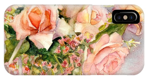 Peach Roses In Vase IPhone Case