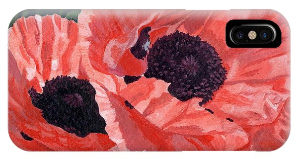Peachy Poppies IPhone Case