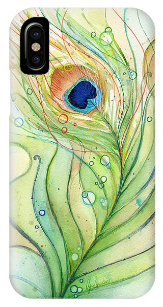 Bird Watercolor iPhone Case - Peacock Feather Watercolor by Olga Shvartsur