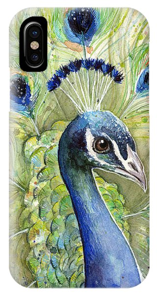Bird Watercolor iPhone Case - Peacock Watercolor Portrait by Olga Shvartsur