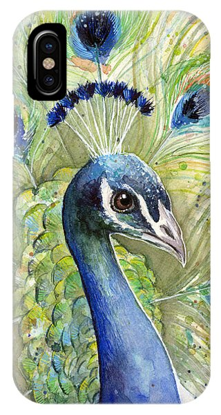 Peacock iPhone Case - Peacock Watercolor Portrait by Olga Shvartsur