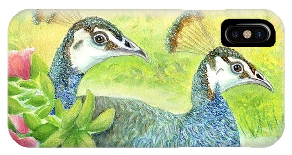 Peahens Strolling In The Garden IPhone Case