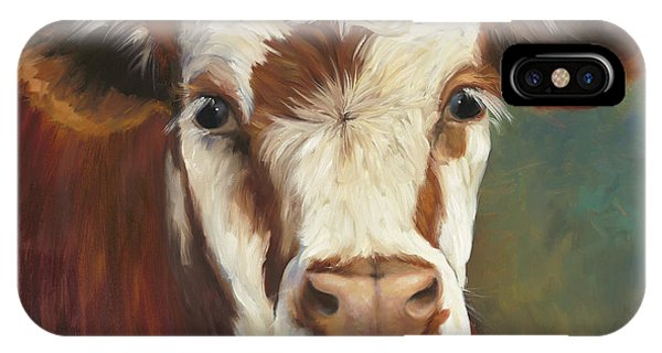 Cow iPhone X / XS Case - Pearl Iv Cow Painting by Cheri Wollenberg