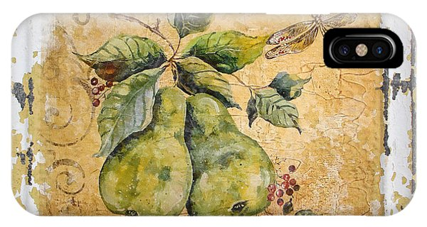 Pears And Dragonfly On Vintage Tin IPhone Case