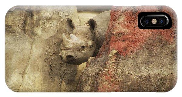 Rhinocerus iPhone Case - Peek A Boo Rhino by Thomas Woolworth